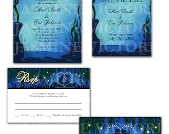 Little Mermaid Wedding Invitation, Save The Date, or RSVP
