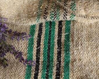 E 309: antique grainsackBLACK and SHAMROCK GREEN, holiday feeling,cushion, 40.16long; 리넨;  french lin, vintage, decoration,