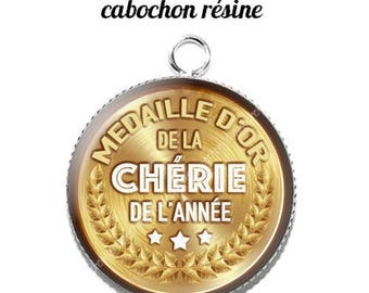 20 mm resin cabochon pendant medal sweetheart... 2