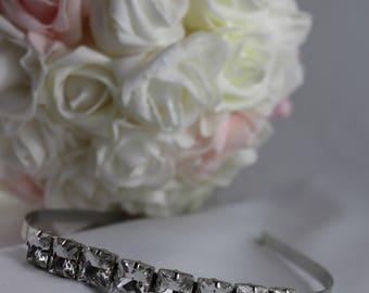 Rhinestone Headband, Bling Headband, Bridal Hair Piece, Bridal Headband, Silver Bridal Rhinestone Hairpiece, Hair Accessory, Bridal, Wedding