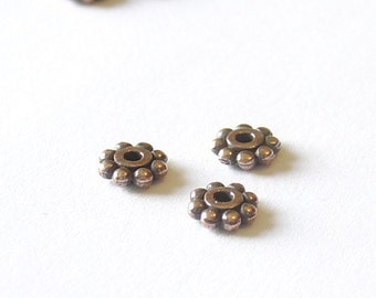 Tierra Cast Beaded Heishi Spacers - 6mm - Antique Copper - 10 Pieces - 0718