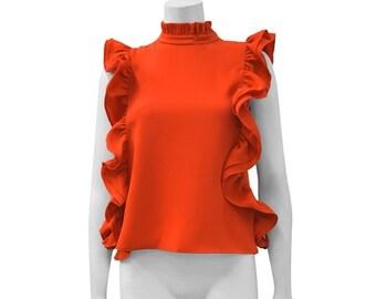 Christie Ruffle Orange Blouse (Clothing, Women's Clothing, Tops & Tees Blouses, sleeveless womens, orange blouse