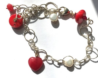 Red Coral, Ruby, White Pearl, Sterling Silver, Bracelet, Lilyb444, Jewelry, Giftsforher,