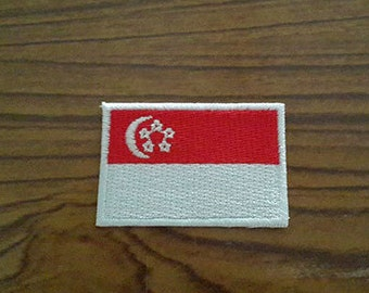 Singapore Flag Applique Embroidered Iron on Patch