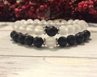 His & Hers Bracelet Set, Matte Onyx-Frosted Quartz, Couples Bracelets, Anniversary Gift, Matching Bracelets, Couples Gift, Couples Jewelry