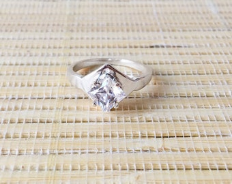 Sterling Silver Side-Set Square Premium Ring