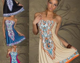 Printed Hippie Women Clothing Maxi Dress Summer Beach Mini Dress Party Dress Swimsuit Bikini Cover up