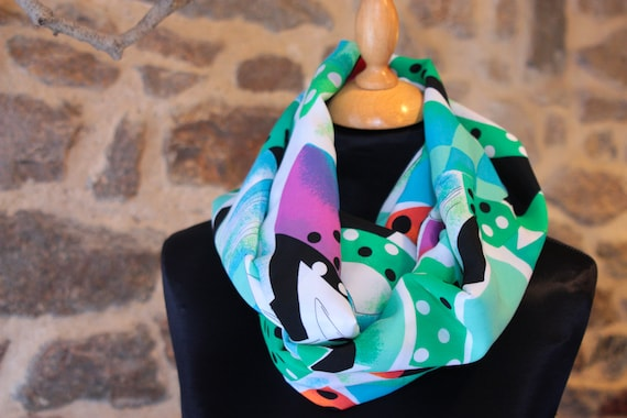 Promo Studio space. Scarf Snood scarf-shawl patterned graphic and colorful cotton viscose.