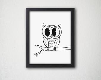 Cute Owl - Downloadable Print - Wall Art - Decor - poster - animal - cartoon