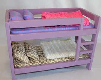"Lavender American Girl bunk bed, bunk bed, AG bed, AG doll Furniture, 18 inch doll furniture doll bunk bed, 18 inch doll bed, 18"" bunk bed"