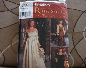 Simplicity Sewing Pattern 8735 UNCUT, size 10-12-14, NEW, OOP - Renaissance, Medieval, Ever After, Costuming, Renn Faire