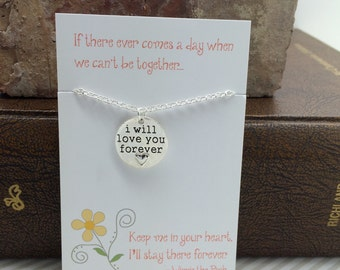 Pooh baptism gift etsy i will love you forever necklace jewelry stamped message with heart forever necklace friendship sisters negle Images