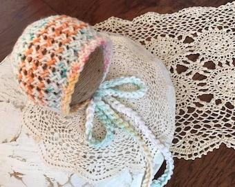 Ready to Ship Newborn Baby Bonnet/Confetti Bonnet/Baby Hat/Baby Photo Prop/Knit Newborn Bonnet Hat/Free Domestic Shipping
