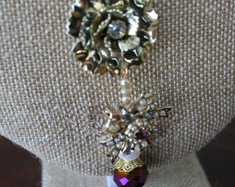 Vintage Purple, Gold and Pearl Assemblage Necklace