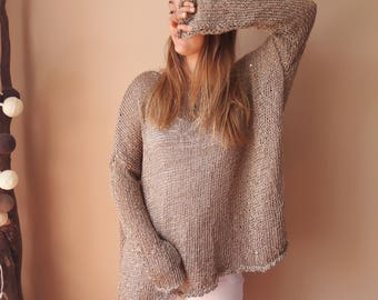 Oversized Plus Size Hand Knit Sweater Jumper Tunic Loose Knit Women's Sweater Gold