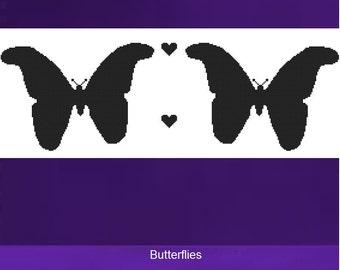 Cross Stitch Kit - Butterflies - Black Silhouette  - DMC Materials - Choose Your Own Colours