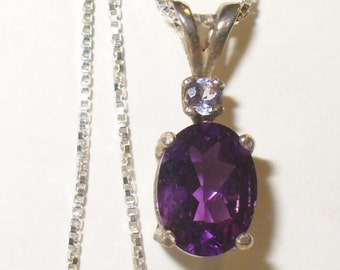 Natural Amethyst Pendant Necklace in Solid Sterling Silver with Tanzanite Accent - Genuine Mined from Earth Gemstones