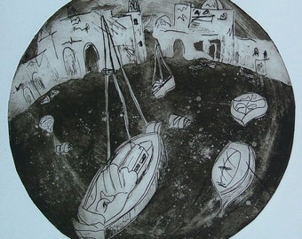 Ships in the Gulf of Acre, Original Etching, Monotype