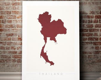 Thailand Map - Country Map of Thailand - Art Print Watercolor Illustration Wall Art Home Decor Gift - COLOUR PRINTS