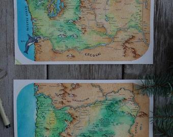 BUNDLE - Washington and Oregon maps (The Cascadia Combo!)