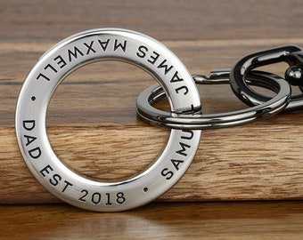Dad Keychain, Mens Personalized Keychain, New Dad Gift | Personalized ANY TEXT up to 35 char, Handcrafted in USA