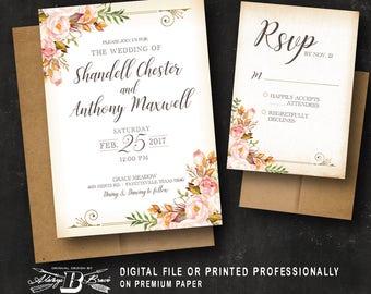 Rustic Wedding Invitation & RSVP |Printed OR Printable Digital File | Fall Wedding Invitations | Vintage Floral Leaves Wedding Invitation