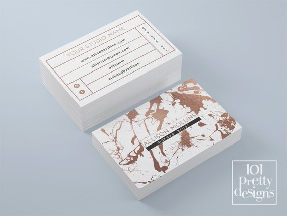 Rose gold business card template makeup artist business card colourmoves