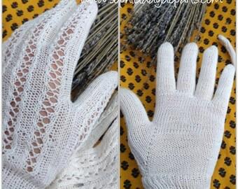 Vintage white French cotton Gloves Hand Knit Fancy Purl Size Medium 7.5 #sophieladydeparis