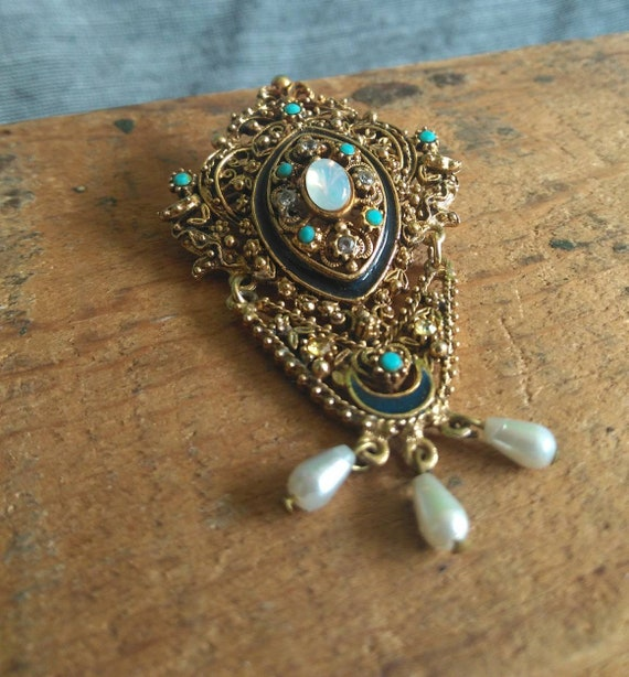 Vintage jeweled revivial brooch FLORENZA gold dangle opal pearl filigree