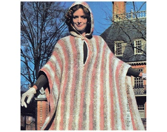 Knit Poncho Pattern Vintage Hooded Poncho Knitting Pattern Womens Striped Hooded Cape PDF Instant Download - K86