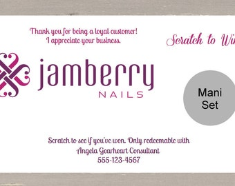 30 Jamberry Customer Scratch-Off Tickets / Cards Party Consultants Prizes Awards