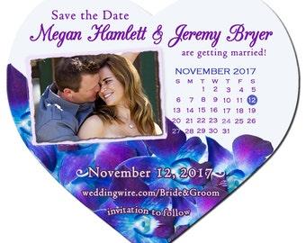 Magnet - Blue Purple Dendrobium Orchid Save the Date Magnet, Calendar Heart Photo Magnet,  Purple Orchid Save the Date, Purple Save the Date