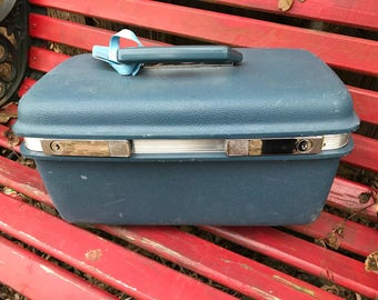 Vintage Blue Samsonite Saturn II Train Case/Overnight Suitcase Great for Repurposing