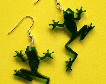 fabulous clear green perspex laser cut frog earrings