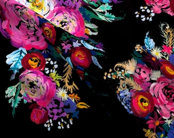 Black Floral Fabric - Bright Floral Painting On Black Background By Theartwerks -Black Floral Cotton Fabric By The Yard With Spoonflower