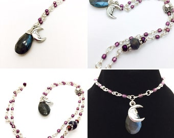 Rose Cut Labradorite Necklace with handmade Czech glass beaded chain and moon charm