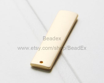 One Piece / Rectangle / Tag / Matte 16K Gold Plated / Base Metal Charms (XF1652//S16)