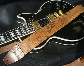 "Handmade brown leather guitar strap. ""Mescalito""."