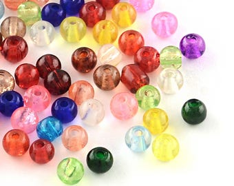 BULK 100 Crackle Glass Beads 4mm - Assorted Colors -  BD228