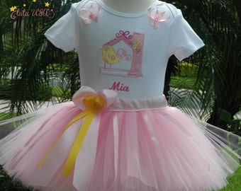 cute baby girl 1st birthday tutu outfit, pink and yellow,personalized,baby bird,includes bow,hand cut and sewn