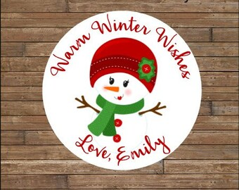 Personalized Christmas Stickers  Snowman Stickers     Winter Wishes Stickers    Snow Lady TAGS