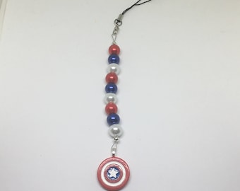 Captain America Red, White & Blue Scissor Fob/Charm