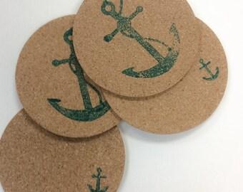 Anchor Cork Coasters,  Teal Anchor Coasters, Nautical Coasters