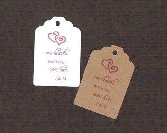 Wedding Tags, Set of 50, Two Hearts Tags, Printed Tags, Wedding Shower Tags, Tags, Wedding Favor, Thank You Tag