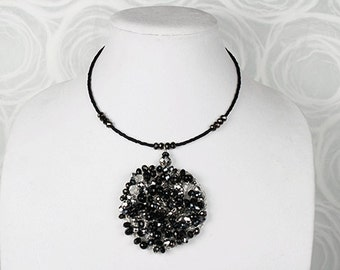 Black and Silver Crocheted Choker