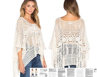 Crochet poncho PATTERN, detailed tutorial in ENGLISH for every row with charts, designer crochet top PATTERN, beach boho lacy crochet poncho