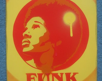 Afro funk paintings 60s stencil art graffiti art urban art spray paints power music soul motown afro America hair home living pop art canvas