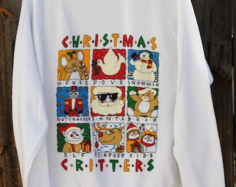 Vintage 1980s Christmas Critters Ugly Christmas Sweater Medium White Sherry Brand Sweatshirt