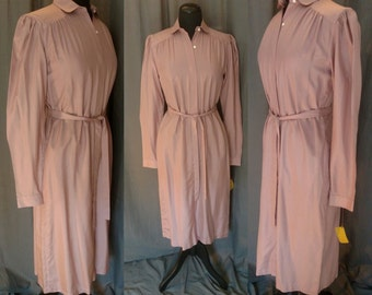 Vintage 1970s Countess Mara Silk Shirt Dress in Mauve / 70s Silk Dress  / New with Tag / Never worn / Small /Medium nwt