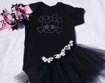 SKULL & CROSSBONES - 4 Piece Black/Pink Boutique Set